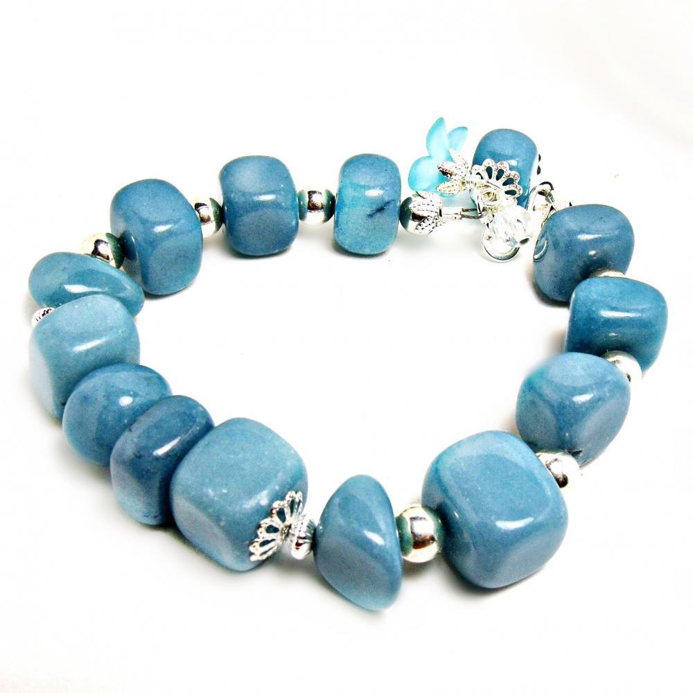 Blue Jade Bracelet Blue Jewelry Flower Jewelry Flower