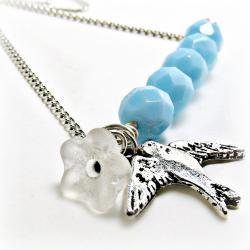 Sweet Sparrow Necklace-Blue bead necklace-Blue necklace- Blue jewelry-sparrow necklace- vintage bead necklace- upcycled necklace- Shabby chic -  Flower Jewelry-  Summer necklace- Summer jewelry- bird jewlery- bird necklace-tiffany blue- sky blue-